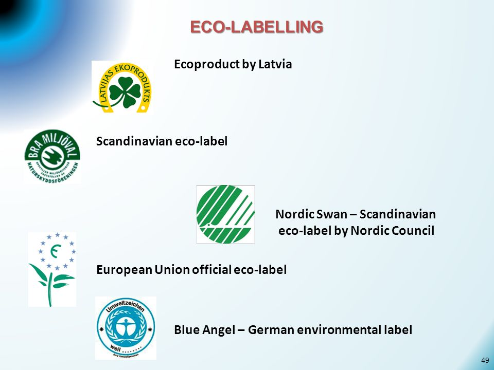 ECO-LABELLING Ecoproduct by Latvia Scandinavian eco-label