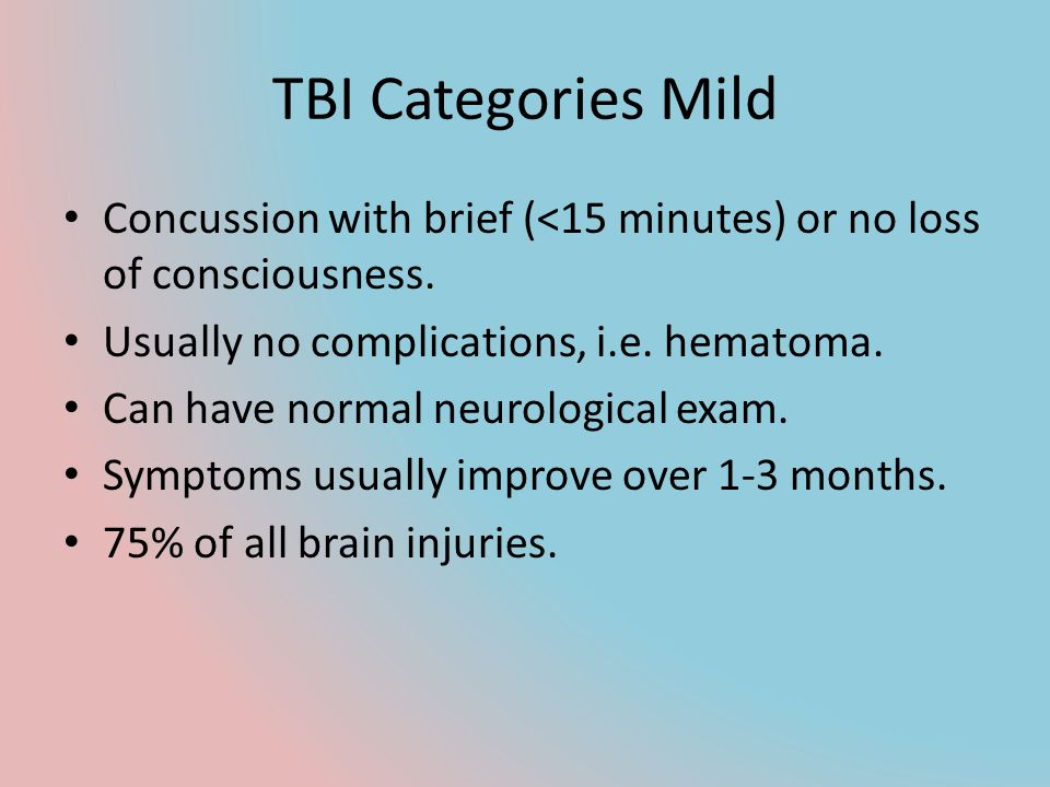 TBI Categories Mild Concussion with brief (<15 minutes) or no loss of consciousness. Usually no complications, i.e. hematoma.