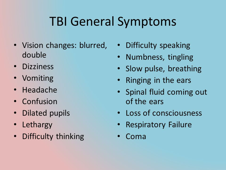 TBI General Symptoms Vision changes: blurred, double Dizziness