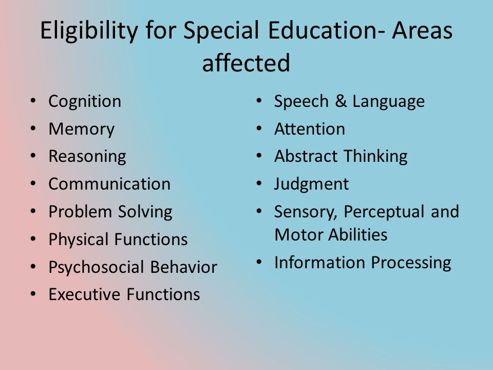 Eligibility for Special Education- Areas affected