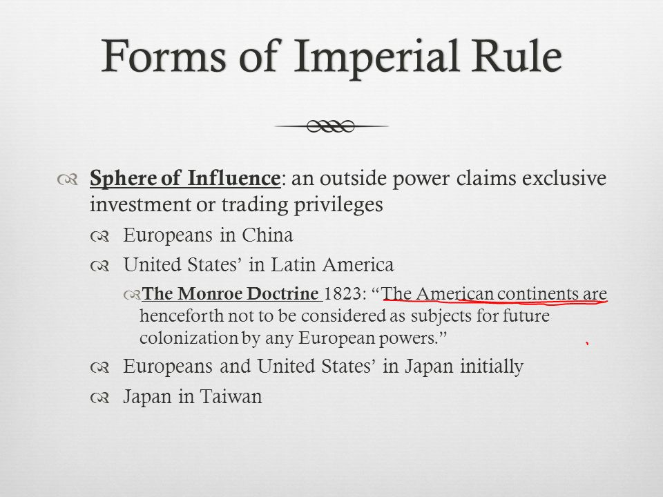 Forms of Imperial Rule Sphere of Influence: an outside power claims exclusive investment or trading privileges.