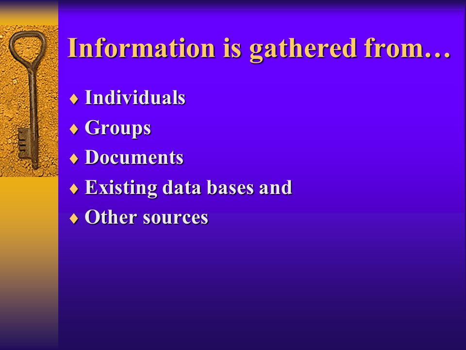 Information is gathered from…