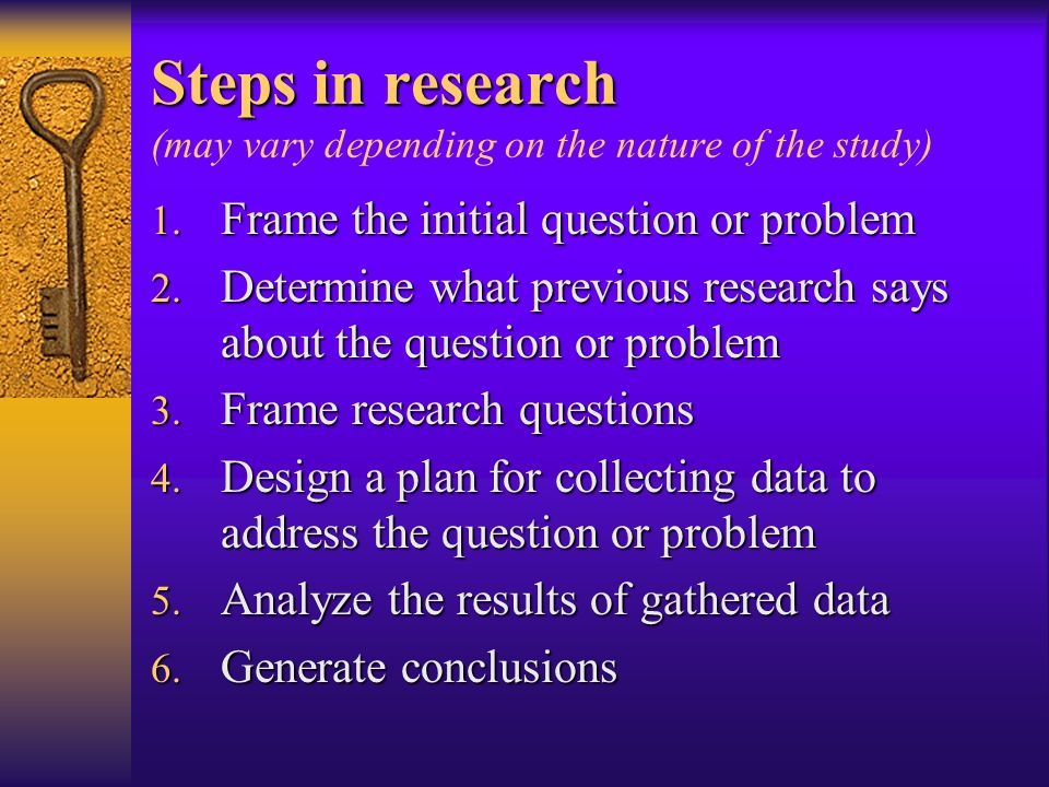 Steps in research (may vary depending on the nature of the study)