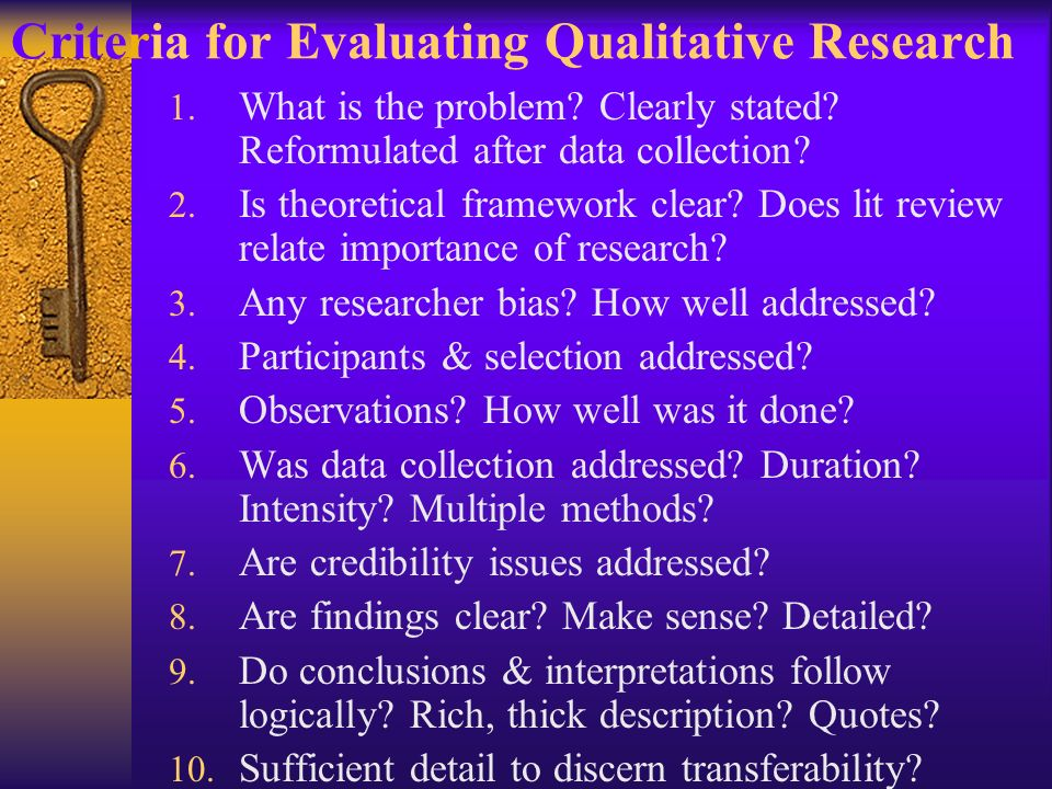 Criteria for Evaluating Qualitative Research