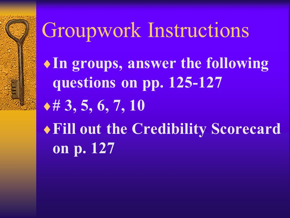 Groupwork Instructions