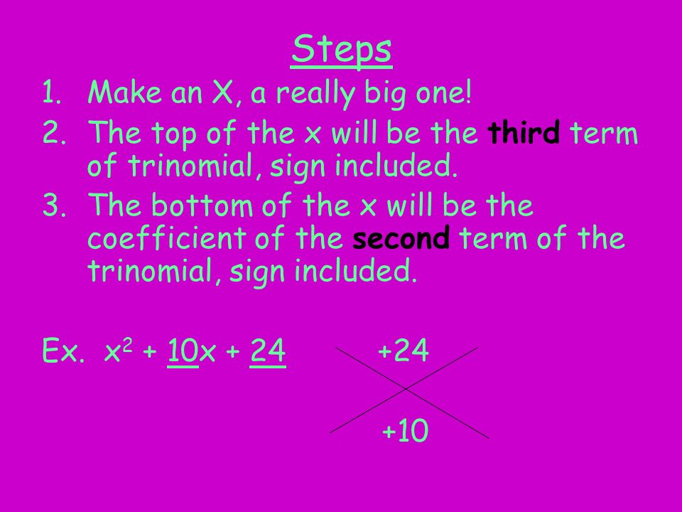 Unit 5 Section 2.6 and 2.9 Factoring Trinomials x2 + bx + c MM1A2.f ...