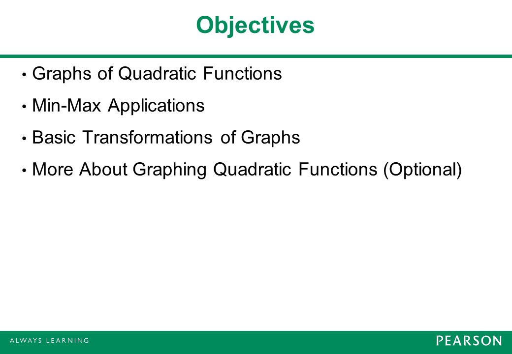 Objectives Graphs of Quadratic Functions Min-Max Applications