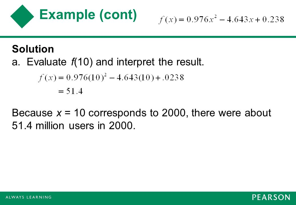 Example (cont) Solution a. Evaluate f(10) and interpret the result.