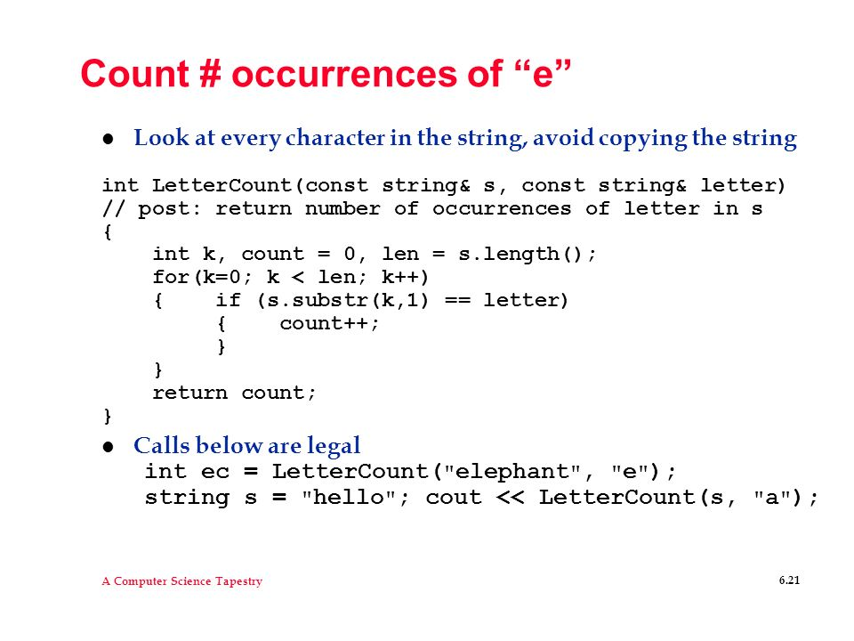 Count # occurrences of e