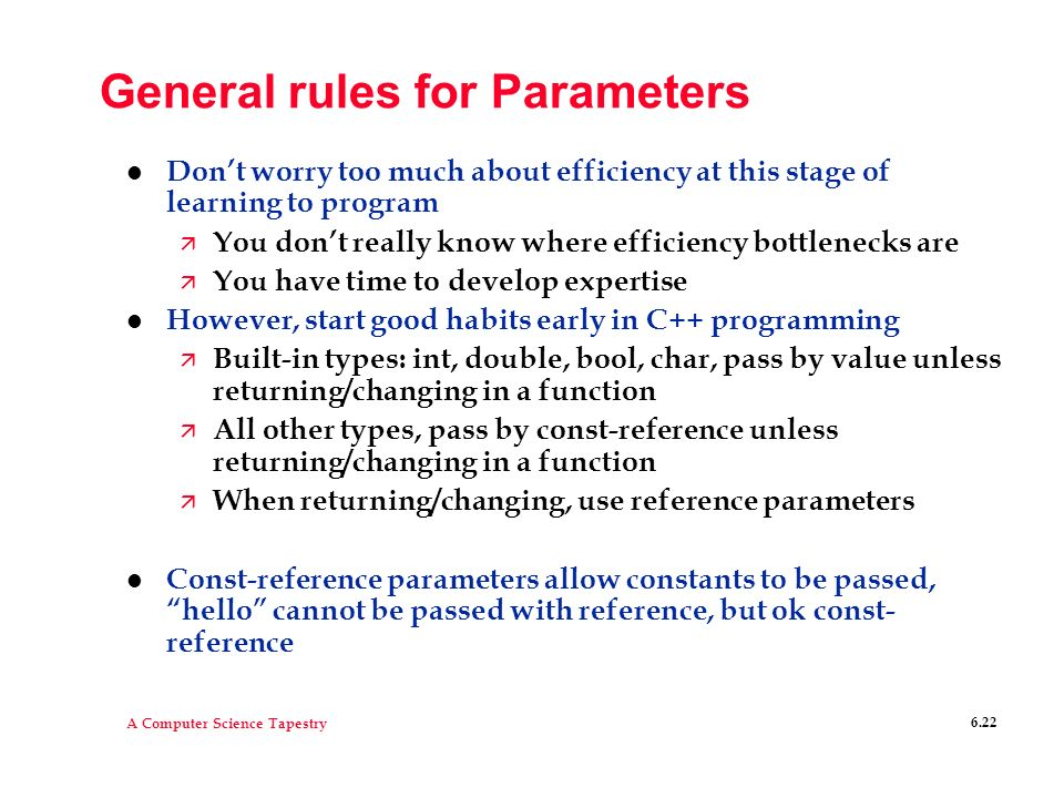 General rules for Parameters