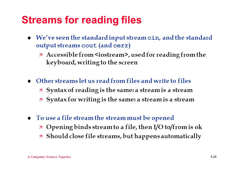 Streams for reading files
