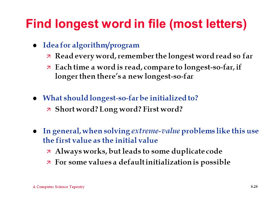 Find longest word in file (most letters)