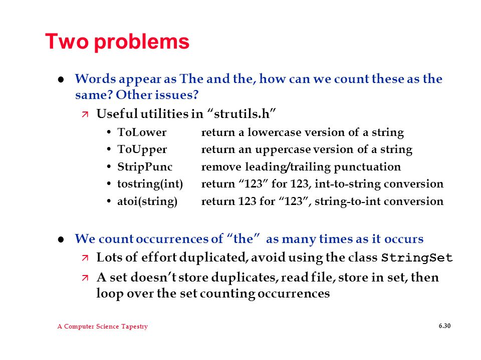 Two problems Words appear as The and the, how can we count these as the same Other issues Useful utilities in strutils.h
