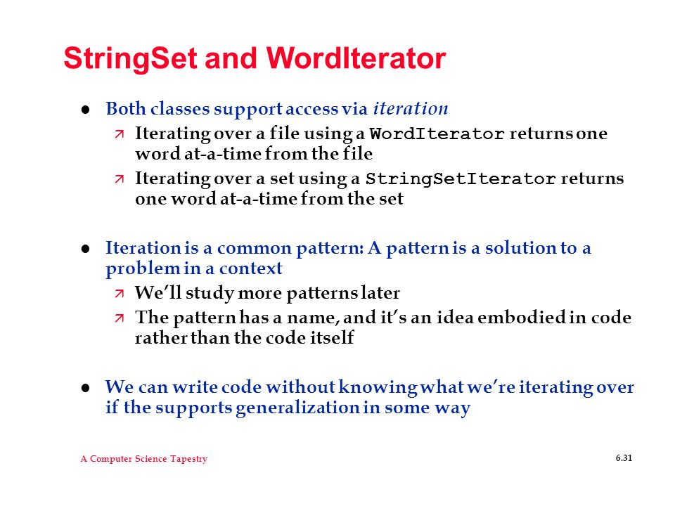 StringSet and WordIterator