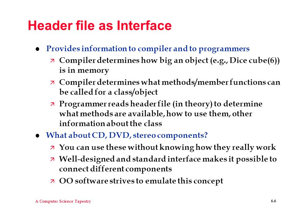 Header file as Interface