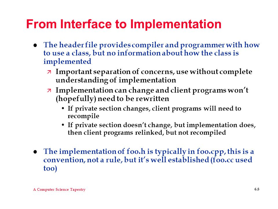 From Interface to Implementation