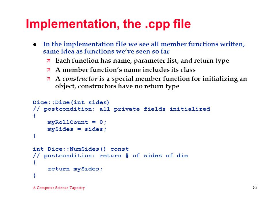 Implementation, the .cpp file