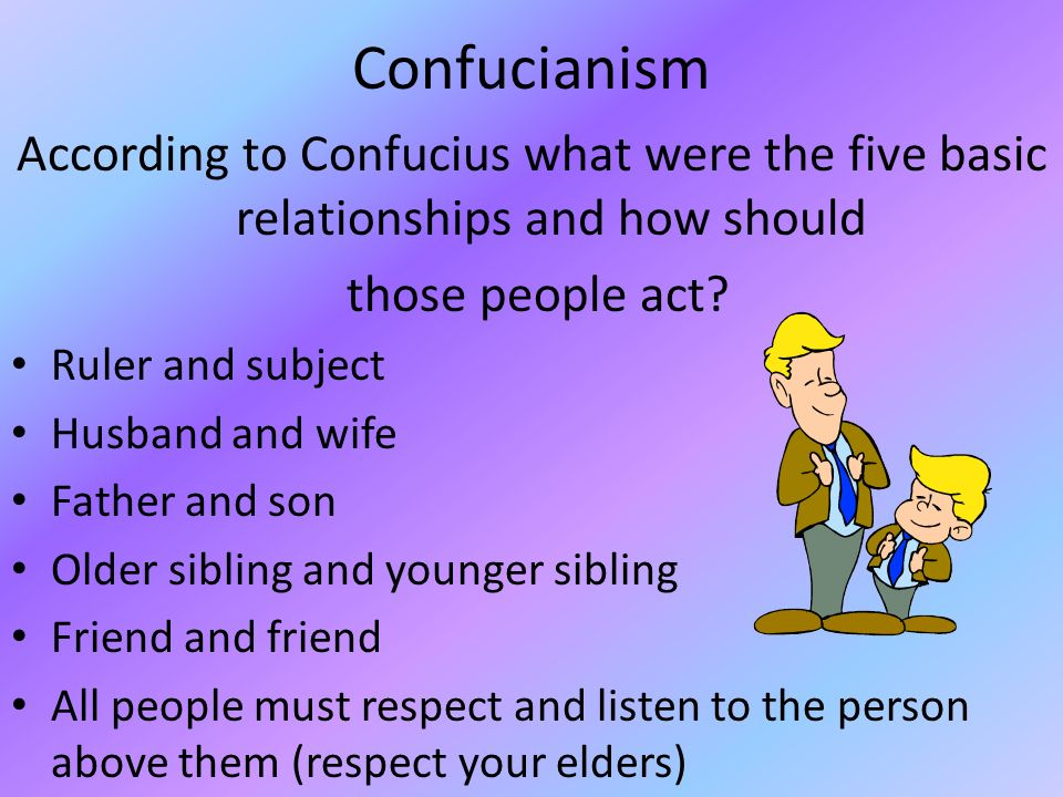 Confucianism According to Confucius what were the five basic relationships and how should. those people act