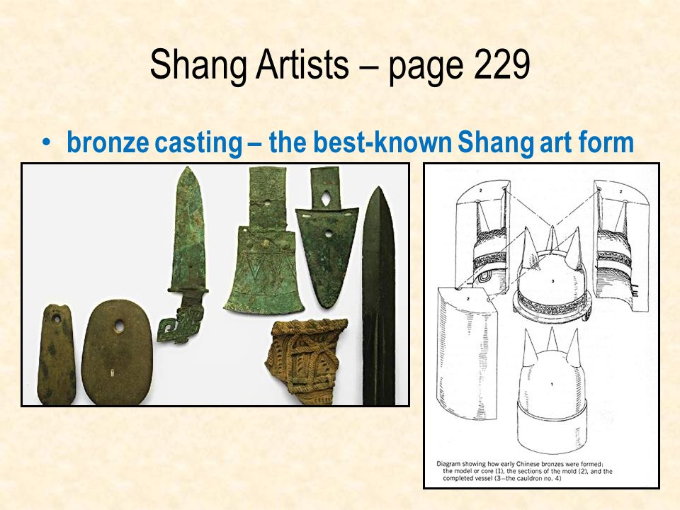 Shang Artists – page 229 bronze casting – the best-known Shang art form.
