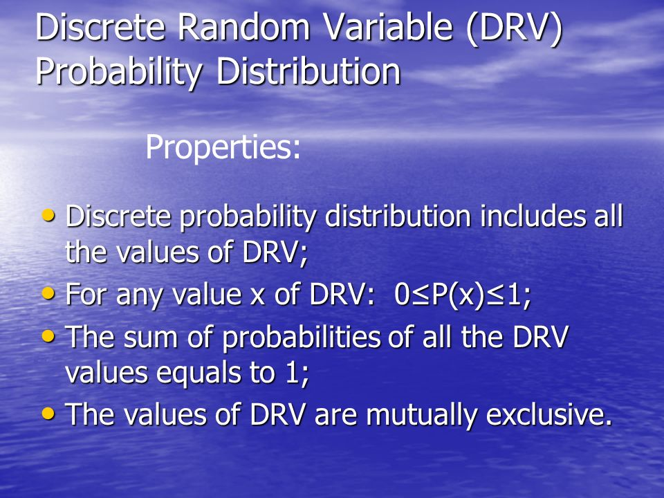 Discrete Random Variable (DRV) Probability Distribution