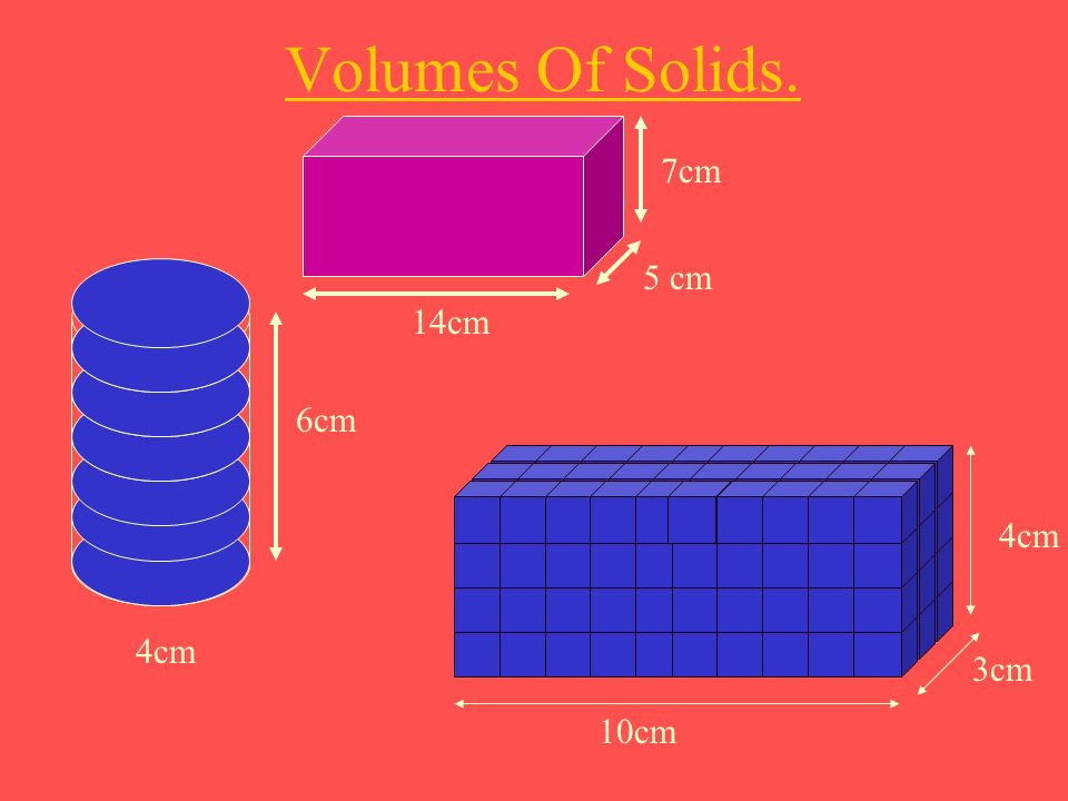 Volumes Of Solids. 7cm 5 cm 14cm 6cm 4cm 4cm 3cm 10cm
