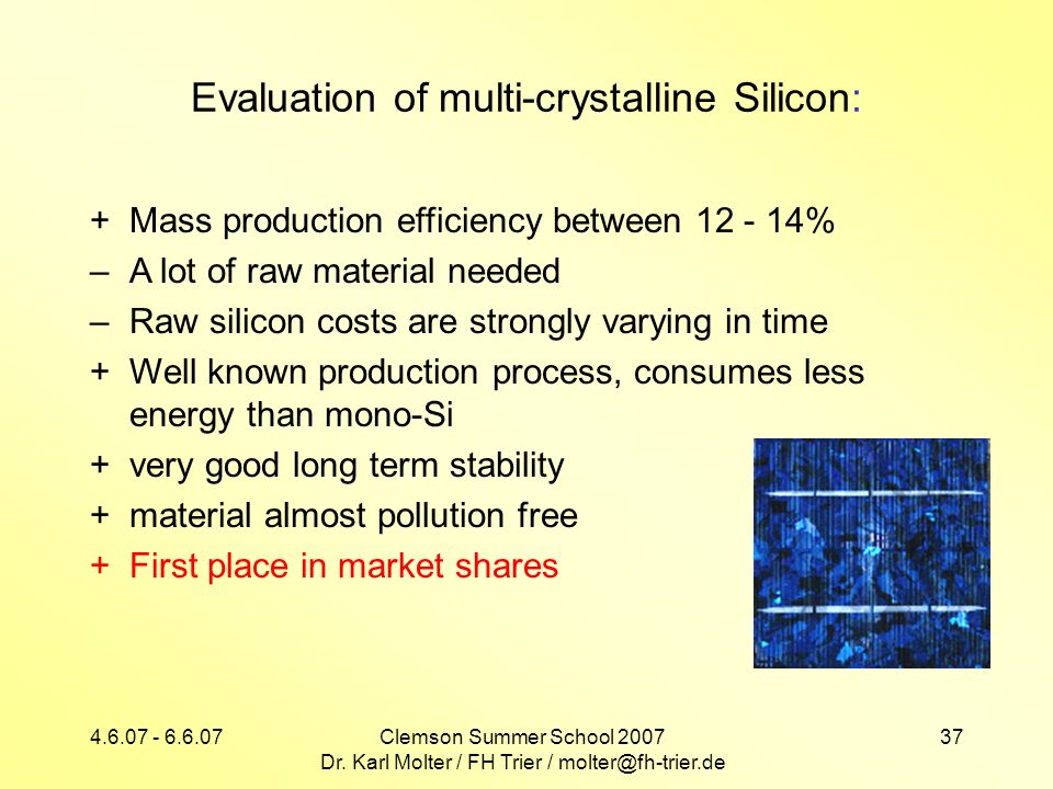 Evaluation of multi-crystalline Silicon: