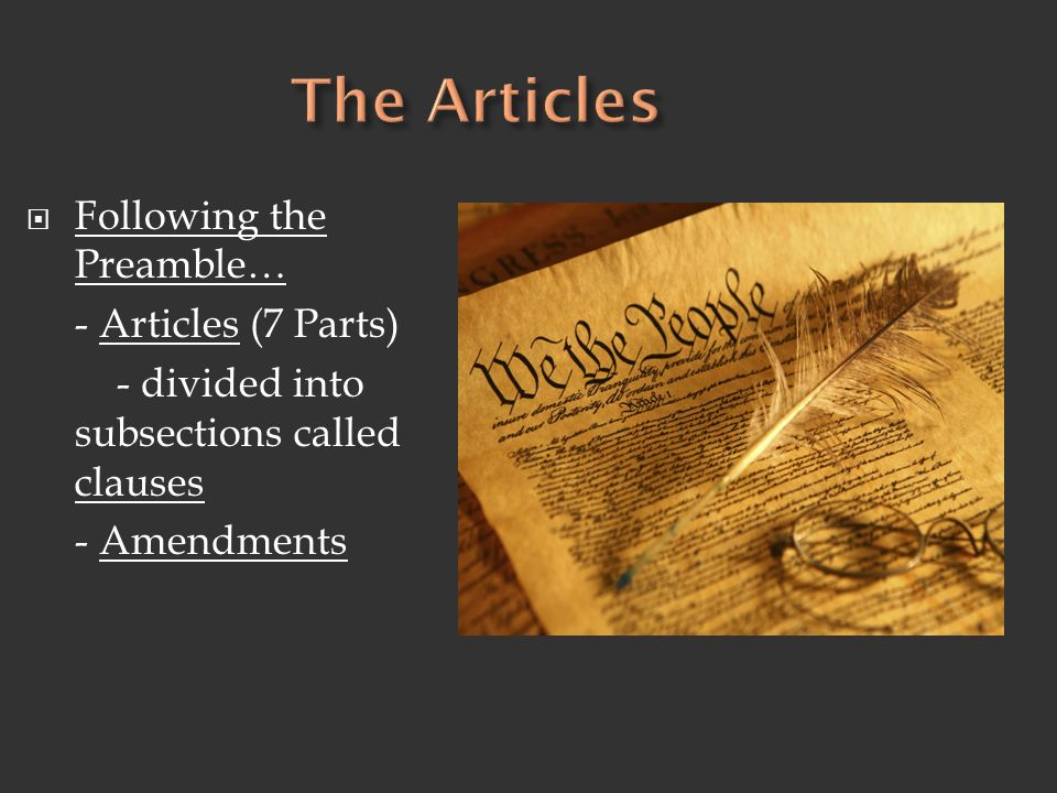 The Articles Following the Preamble… - Articles (7 Parts)
