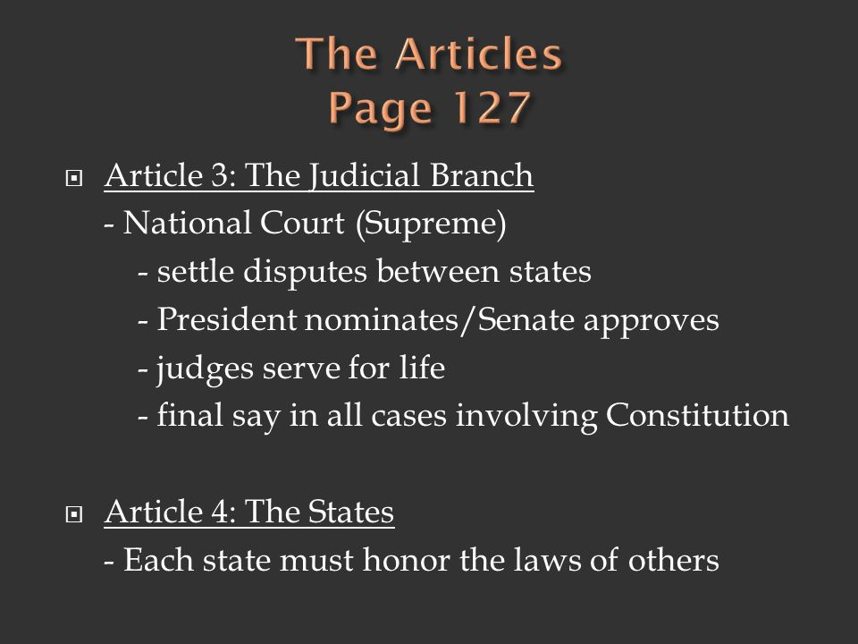 The Articles Page 127 Article 3: The Judicial Branch