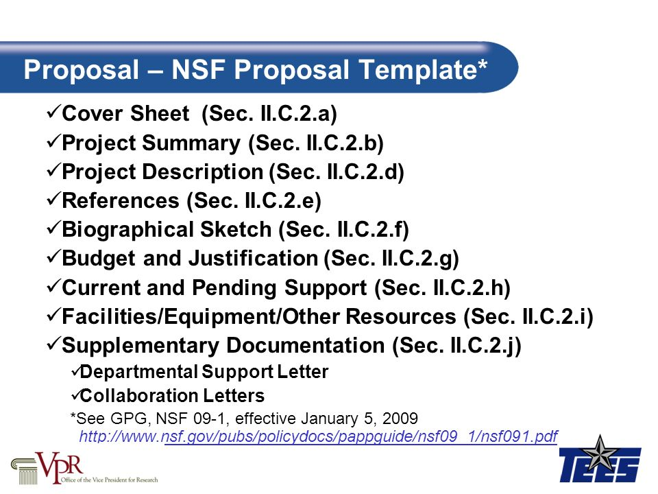 Proposal – NSF Proposal Template*