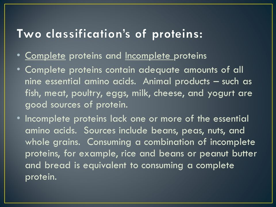 Two classification's of proteins: