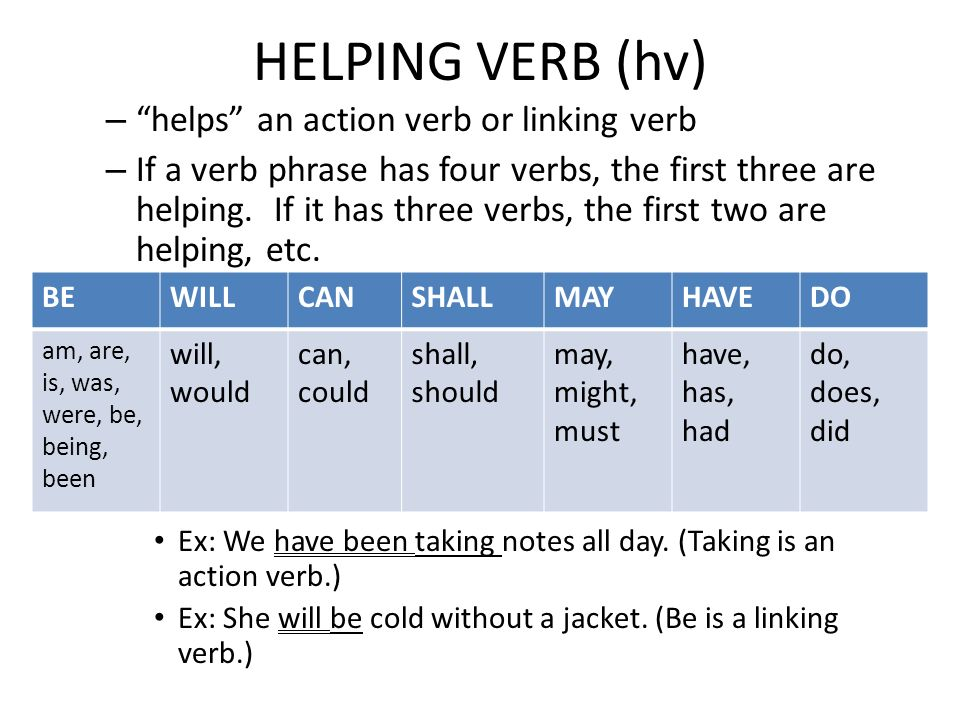 HELPING VERB (hv) helps an action verb or linking verb