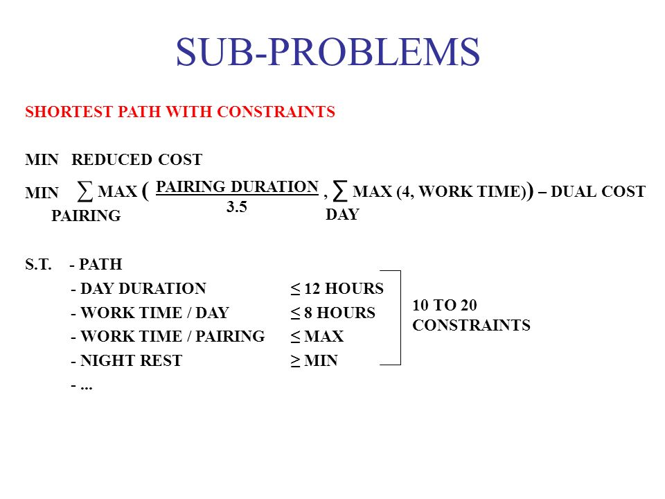 SUB-PROBLEMS ∑ MAX ( , ∑ MAX (4, WORK TIME)) – DUAL COST