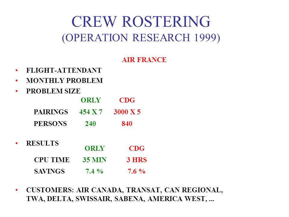 CREW ROSTERING (OPERATION RESEARCH 1999)