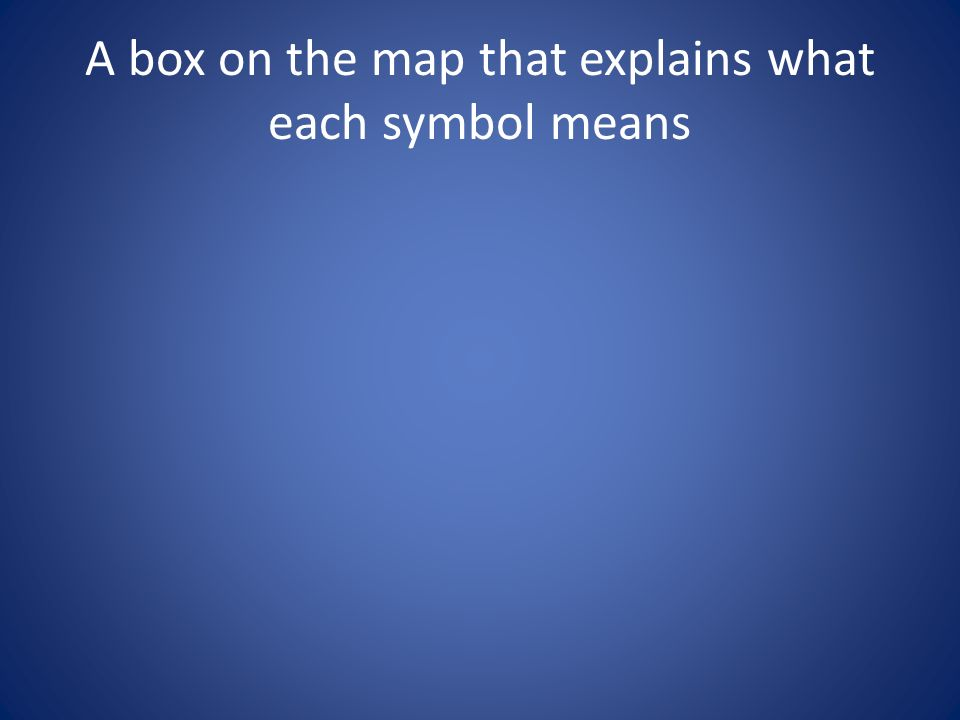 A box on the map that explains what each symbol means