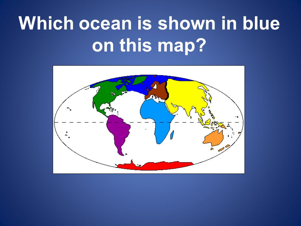 Which ocean is shown in blue on this map