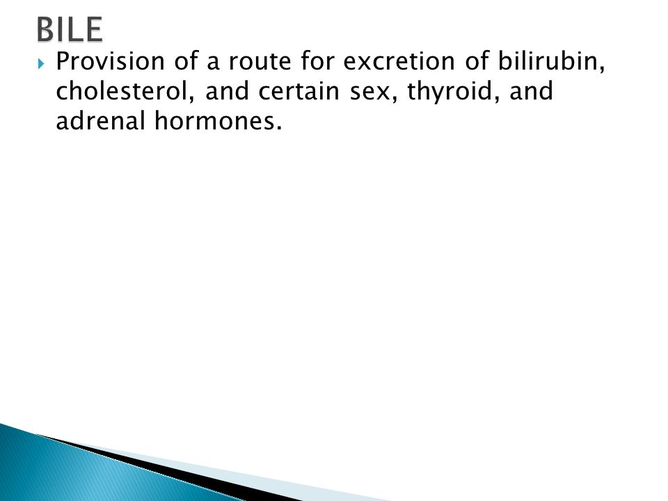 BILE Provision of a route for excretion of bilirubin, cholesterol, and certain sex, thyroid, and adrenal hormones.