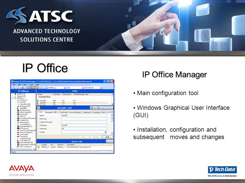 IP Office IP Office Manager Main configuration tool