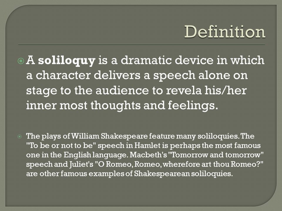 hamlets soliloquies reveal his personality The portrayal of hamlets character in his soliloquys hamlet by william shakespeare justin sivalingam ms babb eng 4u2 july 17, 2013 in william shakespeare's hamlet the protagonist, whom shares the name of the play, gets broadened through his intimate soliloquies throughout act one and two.
