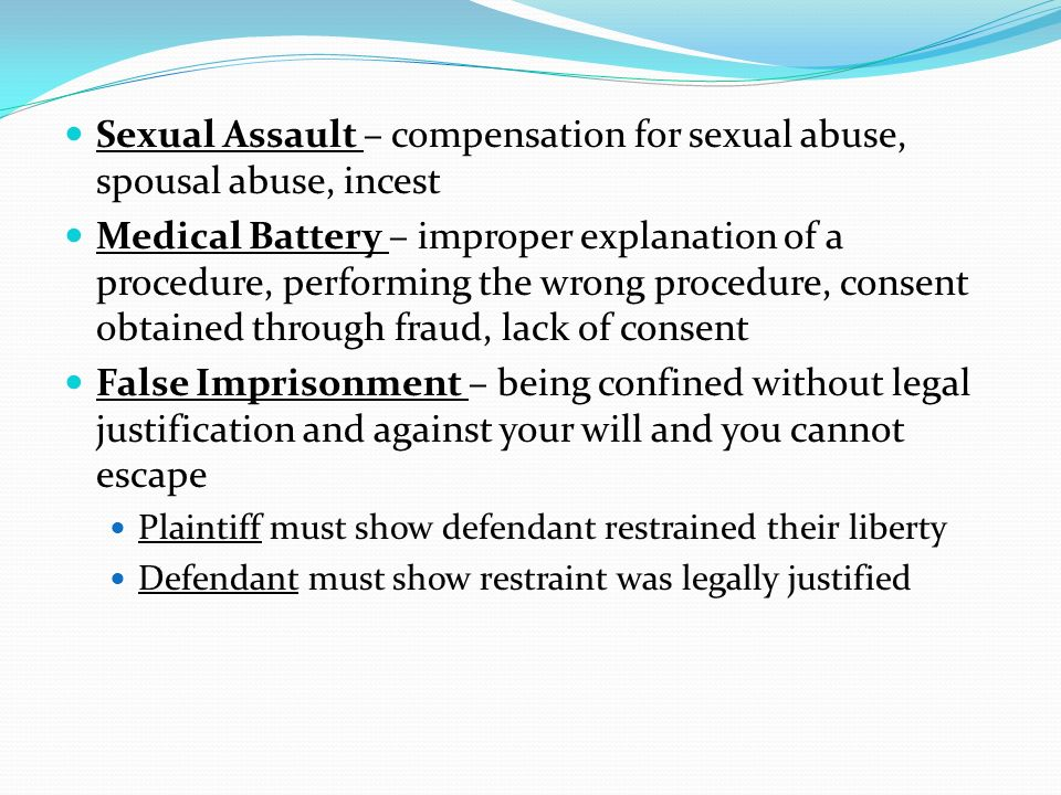 Sexual Assault – compensation for sexual abuse, spousal abuse, incest
