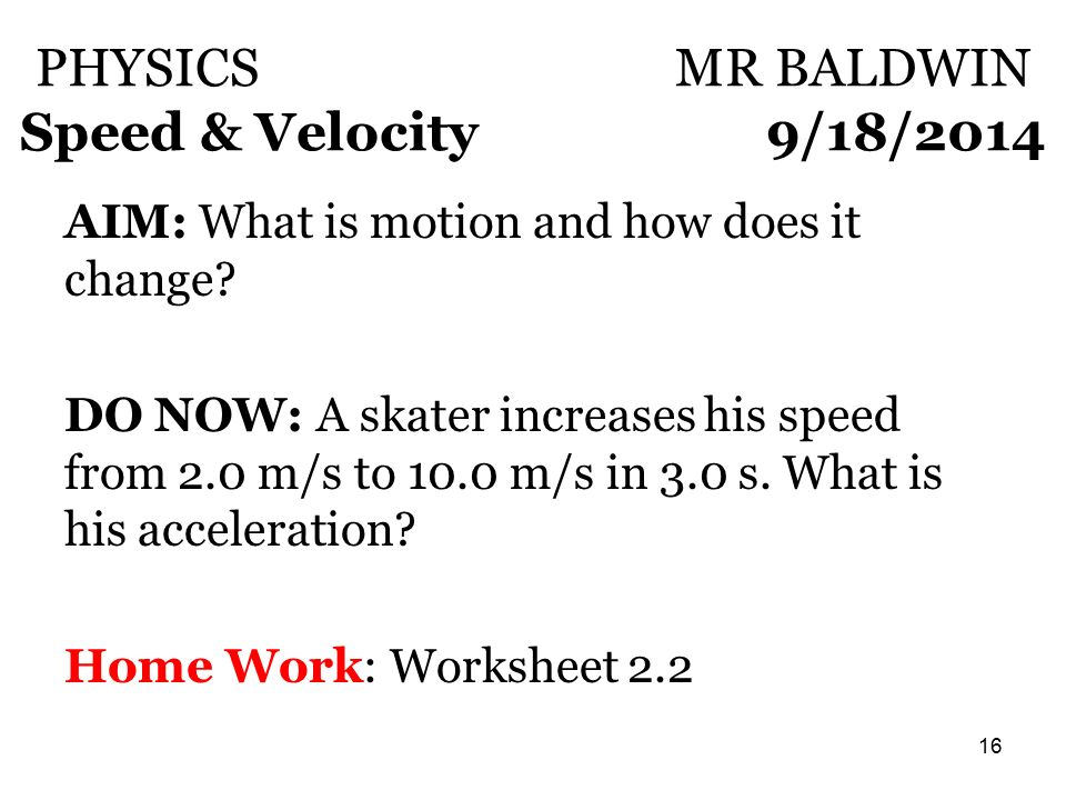 Physics Mr Baldwin Speed Velocity 915 Ppt Video Online Download