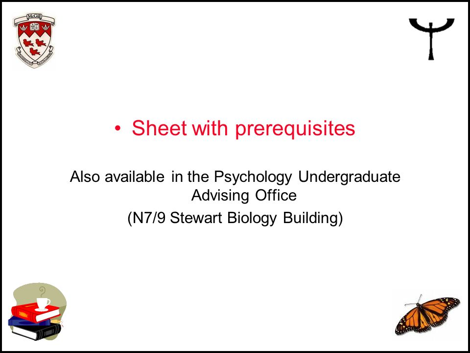 Sheet with prerequisites