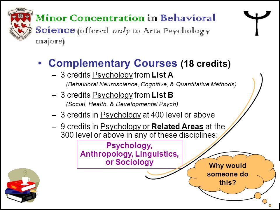 Minor Concentration in Behavioral Science (offered only to Arts Psychology majors)