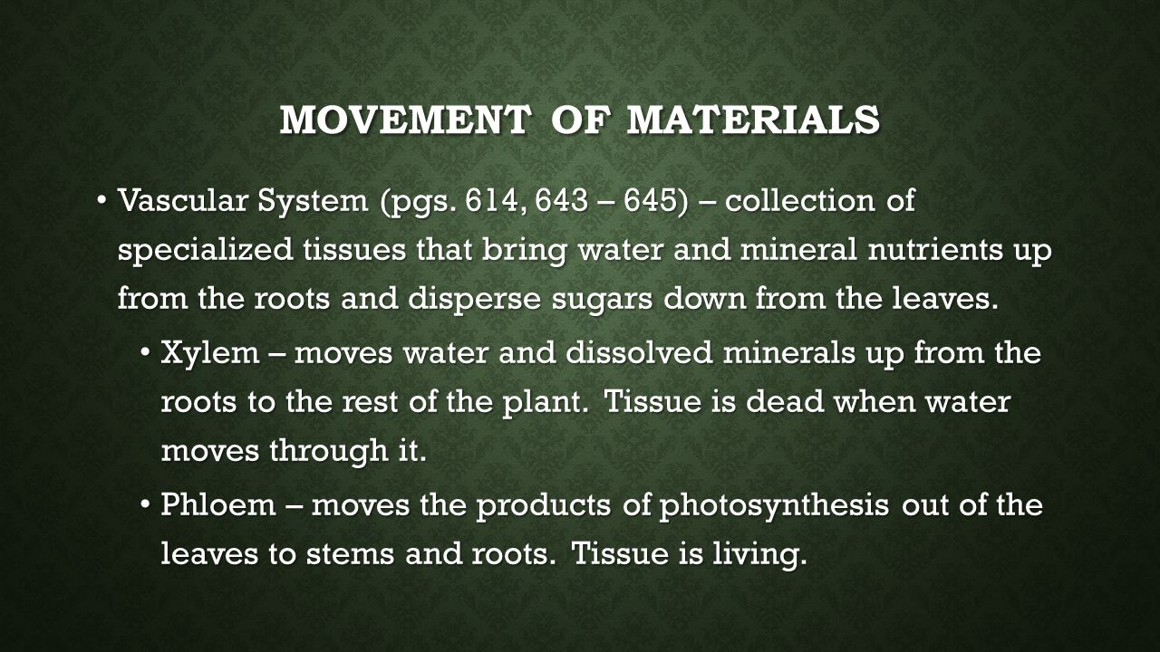 Movement of materials
