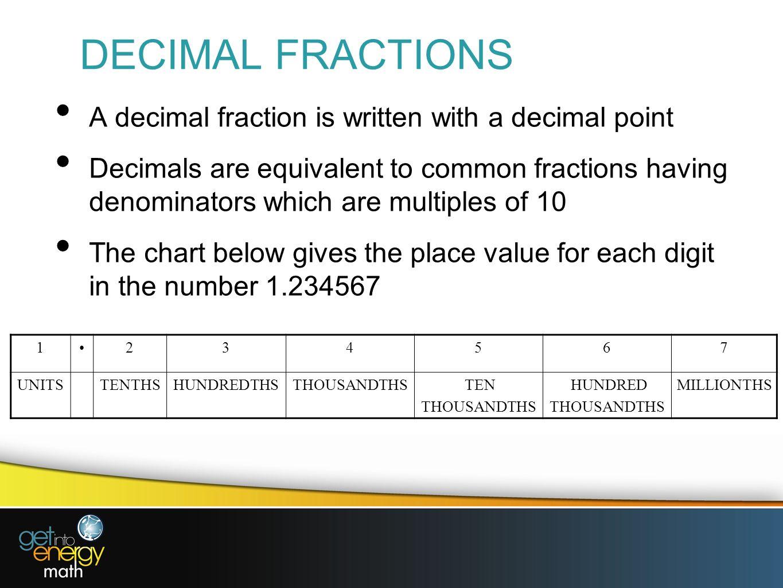 2 Decimal Fractions A Decimal Fraction Is