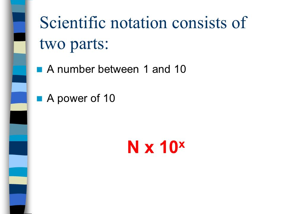 Scientific notation consists of two parts: