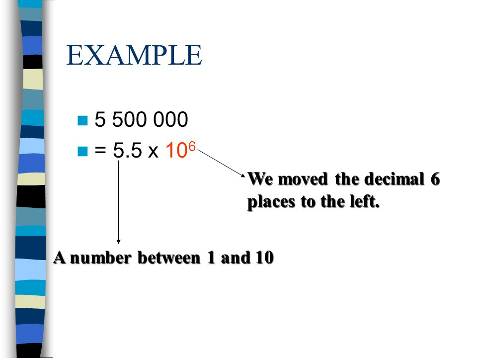 EXAMPLE = 5.5 x 106 We moved the decimal 6 places to the left. A number between 1 and 10