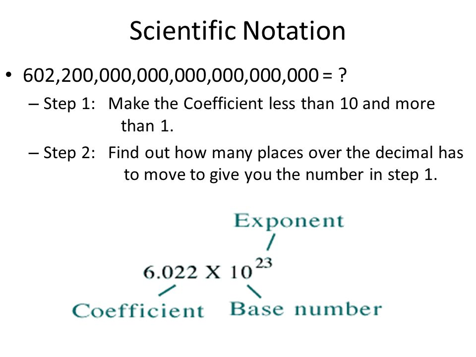 Scientific Notation 602,200,000,000,000,000,000,000 = Step 1: Make the Coefficient less than 10 and more than 1.