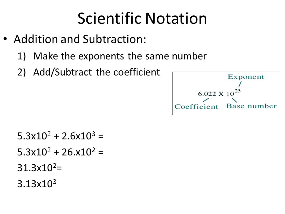 Scientific Notation Addition and Subtraction: