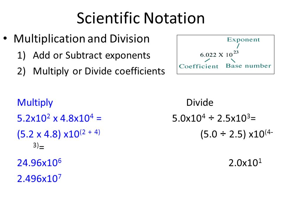 Scientific Notation Multiplication and Division