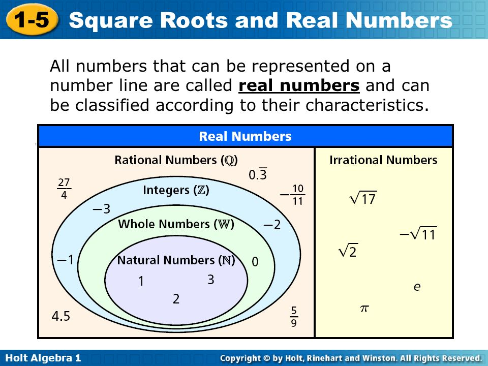 All numbers that can be represented on a number line are called real numbers and can be classified according to their characteristics.